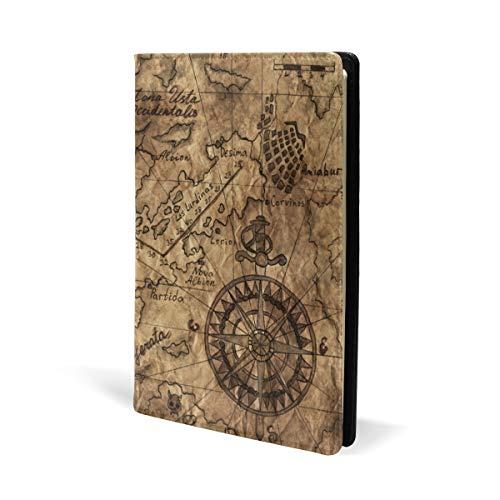 Antiguo mapa del mundo antiguo, fundas de libro de cuero para la escuela, oficina, cuaderno de texto, tapa dura, A5, 5.8 x 8.7 pulgadas para niñas y niños