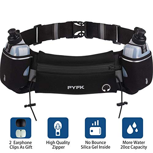 Upgraded Running Belt with Water Bottle, Waist Bag with Adjustable Straps for Men and Women, Large Pocket Running Fanny Pack Fits 6.5 inches Smartphones, Running Hiking Climbing Waist Pack