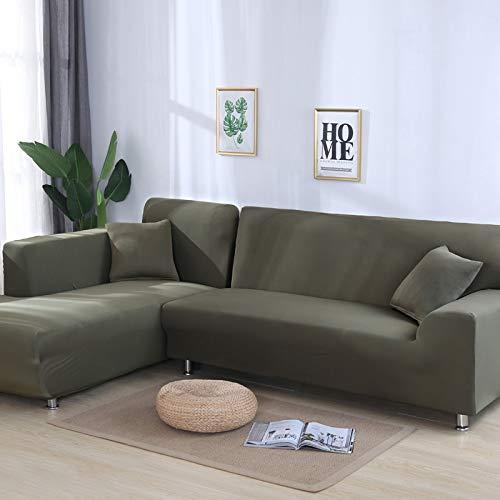 PPOS Protector de Muebles en Forma de L Fundas de sofá de Esquina sólidas para Sala de Estar Fundas elásticas Funda de sofá Toalla de sofá elástica A1 3 Asientos 190-230cm-1pc