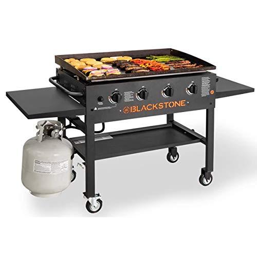"""Blackstone 4-Burner 36"""" Griddle Cooking Station with Side Shelves Griddles"""