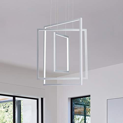 MADEM Modern LED Chandelier Dimmable 87W LED Pendant Light Adjustable Contemporary Chandelier for Living Dining Room Bedroom Silver 6000K Cool White
