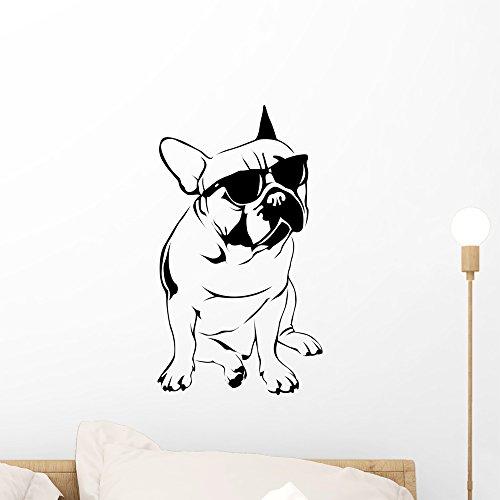 Wallmonkeys Cool Boy French Bulldog Wall Decal Peel and Stick Graphic WM352471 (18 in H x 10 in W)