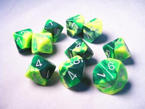 Chessex Dice Sets  Gemini Grün & Gelb with Silber - Ten Sided Die d10 Set (10)