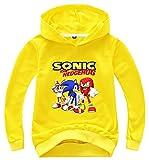 UBeisy Sonic The Hedgehog Sudadera con Capucha para Niños y Sonic The Hedgehog Chándal Sudadera Cosplay Sonic Ropa para Niños y Niñas,Sonic Amarillo F/110