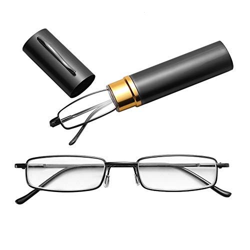 JSANSUI voordelige leesbril leesbril, metalen veer voet draagbare Presbyopie bril met buis etui (1.00D)