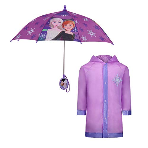 Disney Kids Umbrella and Slicker, Frozen Elsa and Anna Toddler and Little Girl Rain Wear Set, for Ages 4-7, Purple/Lavander, MEDIUM, AGE 4-5