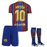 AMD SPORTS Barcelona 2019-20#10 Messi Home Maillots de Football pour Enfants avec des Chaussettes Et des Shorts,(Tailles Enfants 11-12 Ans)