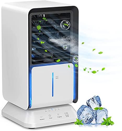 Mobile Klimageräte, infray mobile Klimaanlage, Luftkühler klein 3 Stufen, air cooler mini mit 3 Timer, Verdunstungskühler mit Oszillation, Luftkühler, Luftbefeuchter, Ventilator mit 320ML Wassertank