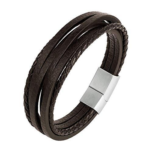 BOBIJOO Jewelry - Armband Man Echt Leer Zwart of Bruin van Roestvrij Staal-Multi-Riemen