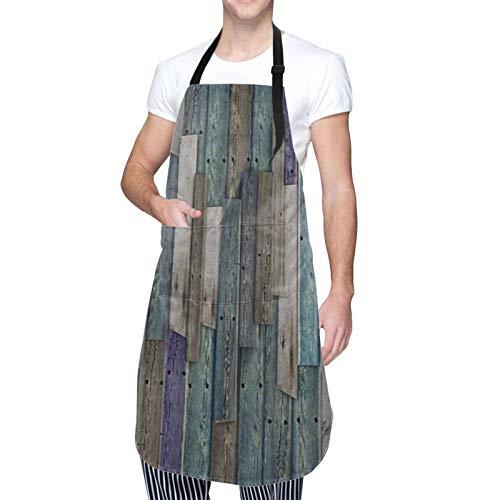 SUDISSKM Schürze,Rustikales Bild von blau grau Grunge Holzplanken Scheune Haus Türnägel Landleben Thema Druck,mit Tasche Verstellbare Küchenschürze Damen und Männer zum...