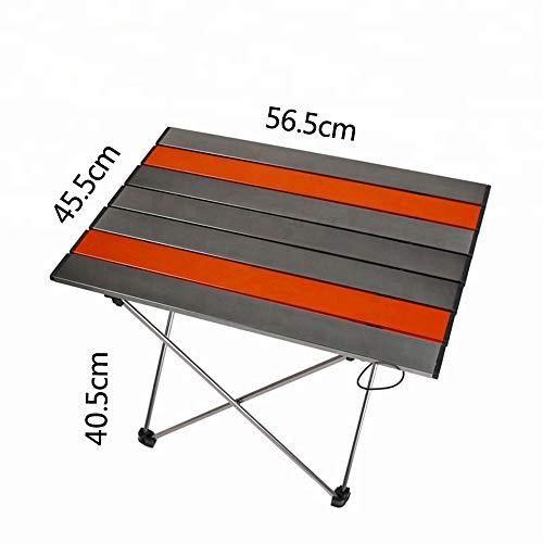 PA® Table de Camping Travel, Table Pliante de Camping Jardin BBQ Barbecue Pique-nique Portable en Aluminium pour Les Activités en Plein air etc. Orange,M