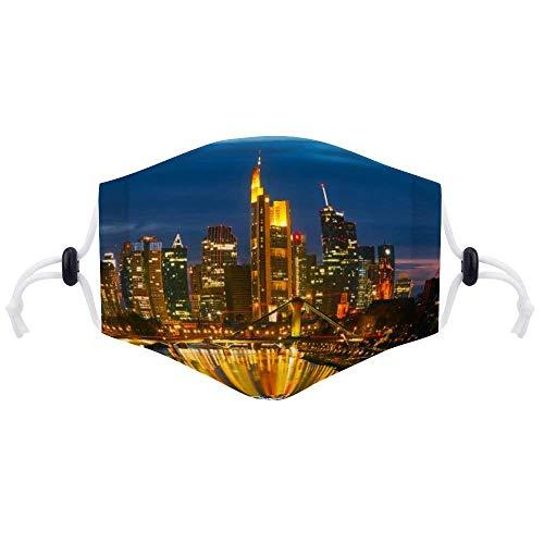 Gesichtsdekoration mit Zwei Filtern Frankfurt am Main Deutschland Sunset Dusk City Urban Gesichtsdekoration Unisex verstellbar