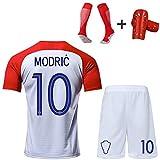 CBVB Kits de Uniformes de fútbol, niños jóvenes Adultos, Croacia Modric Mandzukic Rakitić Perisic Kesmaric, Ropa de Entrenamiento, Personalizable, Traje de competición-WhiteRed10-XS
