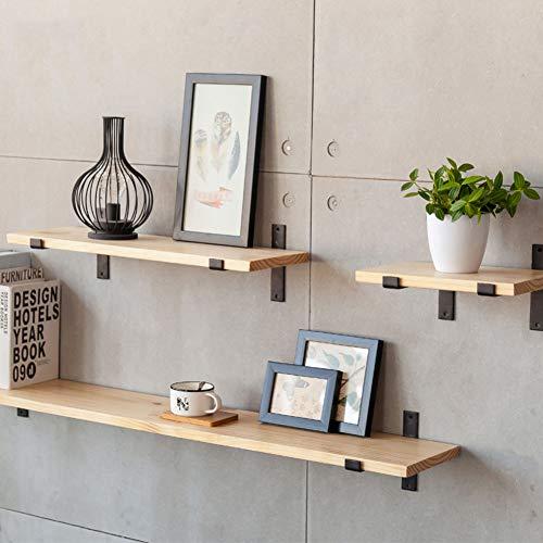 Estantería flotante de madera de L&T, estantes de almacenamiento de metal, resistente, estante para colgar armario, organizador de plantas, libros de cocina, a