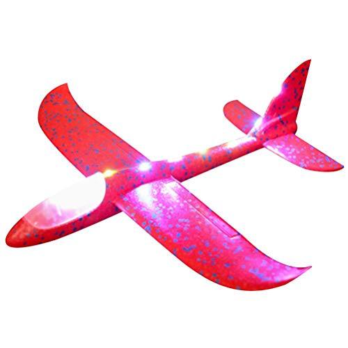 Hihey Wurfgleiter LED Styroporflieger Flugzeug Nacht Handstart Trägheit Schaum Segelflugzeug Werfen Fliegen Modell,Outdoor Spielgeräte