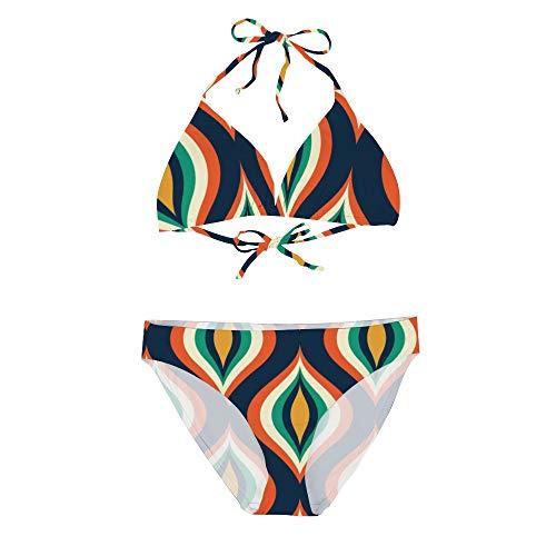 Women's Sexy Bikini Set Two Piece Swimsuits, Colorful Teardrops Modern Geometric, String Padded Swimwear