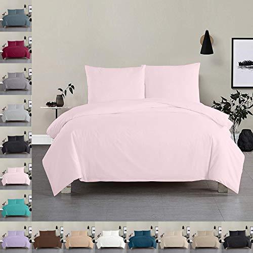 Bettwäsche Bettgarnitur Bettbezug 100% Baumwolle 135x200 155x220 200x200, Farbe Bettwäsche:Rosa, Größe Bettwäsche:155 x 220 cm