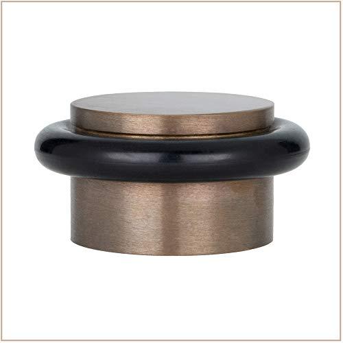 EVI Herrajes 040103RU I-103-Tope de puerta adhesivo, acabado envejecido, Laton Rustico-Goma Negra, 28Ø x 20mm