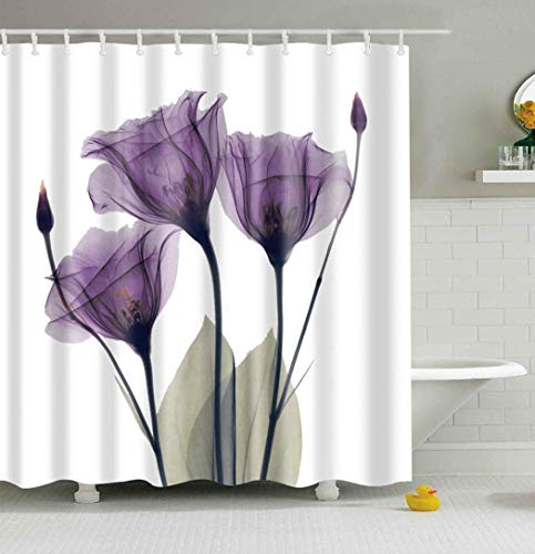 Mantto Home Decor Purple Gentian Trio X-Ray Flowers Shower Curtain with Minimalist Faded Effect Artsy Image, Waterproof Polyester Fabric Bathroom Curtain Set 72