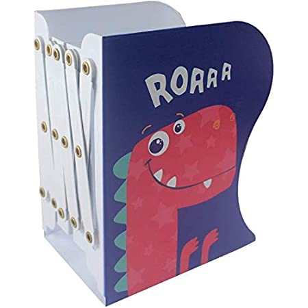 Sinrextraonry Adjustable Bookend Metal Dinosaur Pattern Bookends Non-Skid Heavy Duty Book Holder Stand Hold Books,Magazines,Cookbooks (Blue-red)