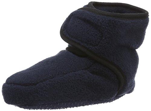 Playshoes Baby-Schuhe aus Fleece, Krabbelschuhe für Mädchen und Jungen mit rutschhemmender Noppen-Sohle, Blau (marine), 18/19 EU