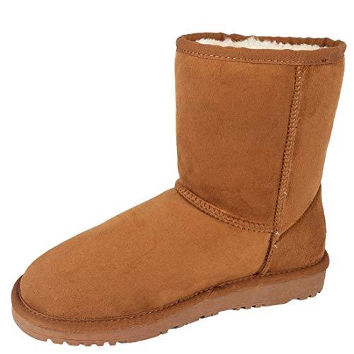 Lanyani Women's Vegan Winter Boots Waterproof Classic Faux Sheepskin Warm Mid Calf Snow Boots