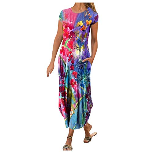 YANFANG Vestidos Mujer Elegante,Vestido De Estilo Casual con Estampado Flores Y Mangas Cortas Cuello Redondo Moda para Mujer,Vestido Bohemio Largo Larga,Rosa,Negro,Azul Oscuro,Rojo,Azul,Verde,