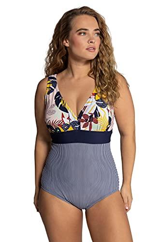 Ulla Popken Damen große Größen Übergrößen Plus Size Badeanzug, Dschungelmuster, Streifen, Softcups Multicolor 54 792735900-54