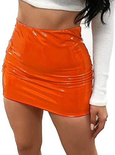 CiKiXZ Damen Lederrock Wetlook PU Leder Bleistiftrock Figurbetont Bodycon Mini Rock Hohe Taille Leather Skirt Hüftrock (Orange, M)