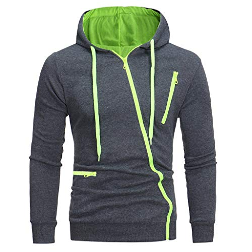 Xmiral Kapuzen-Pullover Herren Einfarbig Lose Kapuzensweatshirt Hoodies (XL, y Dunkelgrau)