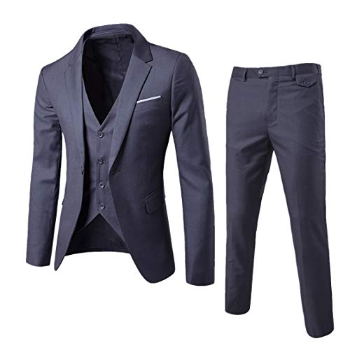 Guiran Herren Anzug Regular Fit Business Anzüge 3-Teilig Anzugjacke + Anzughose + Weste Dunkelgrau 3XL