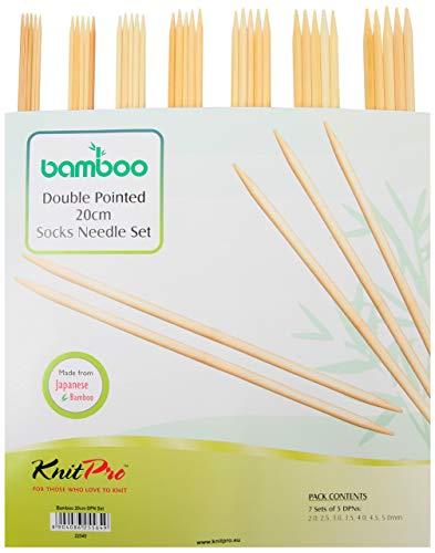 KnitPro Nadelspiel Set Bamboo 20 cm, braun