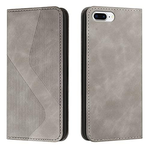 Coque pour iPhone 8 Plus / 7 Plus 5.5inch Portefeuille, Housse en Cuir avec Porte Carte Fermeture par Rabat Aimanté Antichoc Étui Case pour iPhone 8 Plus / 7 Plus - DEHX030014 Gris