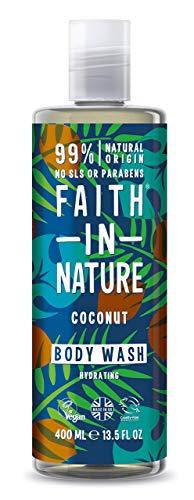 Faith in Nature Gel de Baño Natural de Coco, Hidratante, Vegano y No Testado en Animales, sin Parabenos ni SLS, 400 ml