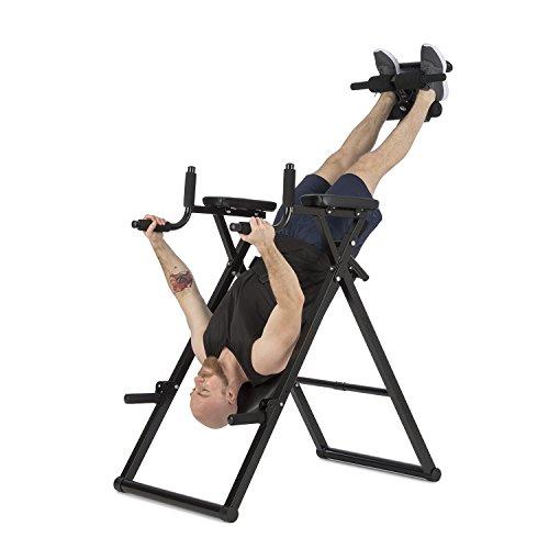 Klarfit Power-Gym - Inversionsbank, Hang-Up-Rückentrainer, Rücken-Bank, 6-in-1-Multitrainer, Inversion, Push-Ups, Squats, Chin-Ups, Dips & Ab-Training, bis 120 kg, verstellbar, schwarz
