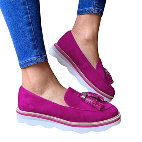 UMOOIN Zapatos para Mujer 2021 Plataforma Casual Slip on Meroders Femenino Primavera Calzado de otoño Tassle Ladies Zapatillas de Deporte Planas Zapatos Perezosos,Púrpura,37