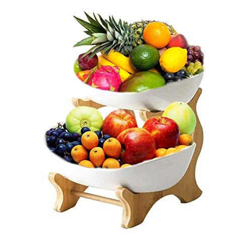 WUHUAROU 2 Tier Ceramic Fruit Plate, Vegetable Sweets Shelves Bamboo Wood Fruit Tray Rack, Unique Removable Oval Fruit Bowl Design, for Living Room Kitchen Study etc.