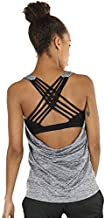 icyzone Yoga Tops Workouts Clothes Activewear Built in Bra Tank Tops for Women (M, Grey Melange)