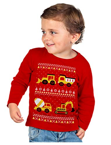 Tractors Bulldozers Ugly Christmas Sweater Style Boys Kids Long Sleeve T-Shirt 3T Red