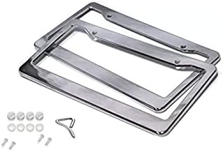 BLVD 2PCS CHROME STAINLESS STEEL METAL LICENSE PLATE FRAME TAG COVER WITH SCREW CAPS