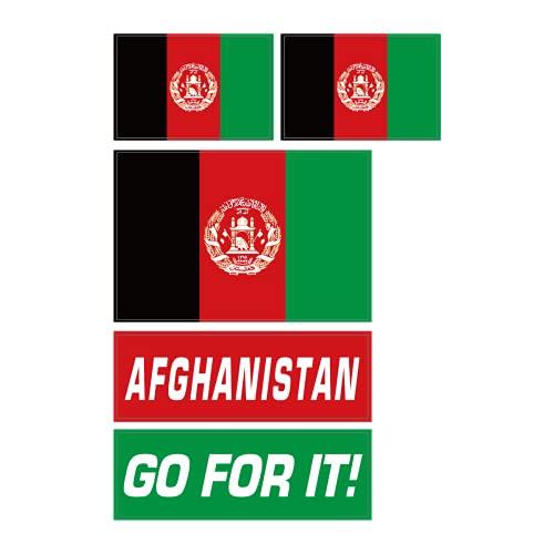 アフガニスタン・イスラム共和国 フェイスシール 国旗&メッセージ 3種5枚セット