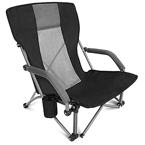G4Free Low Beach Camping Silla plegable con reposabrazos, ultraligero silla de mochilero con soporte para tazas, para acampar concierto césped con bolsa de transporte (negro)