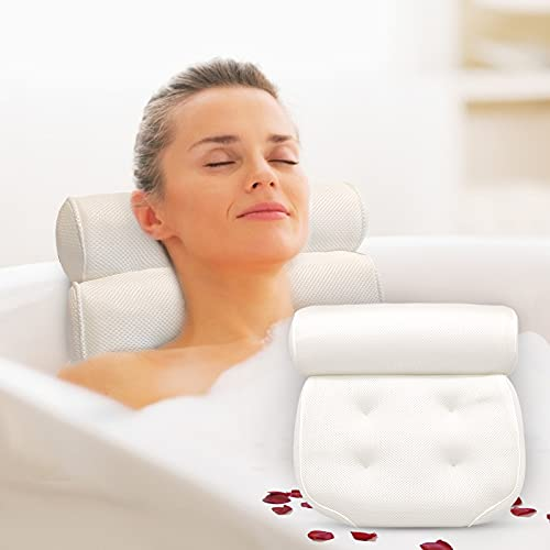 Badewannenkissen, Badewanne Nackenpolste mit 4 Saugnäpfen Komfort Badekissen mit 4D Air Mesh Technologie Rutschfest Antibakteriell für Badewannen und Home Spa 38x36x9cm - badewanne zubehör