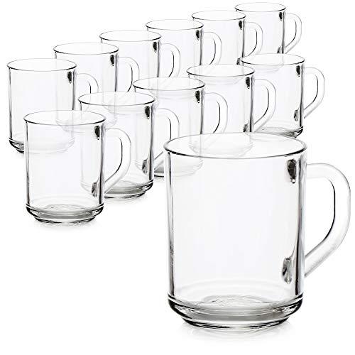 com-four® 12x Teeglas - Trinkgläser mit Henkel für Tee und Kaffee - Ideal für Heißgetränke, Kakao, Latte Macchiato und Cappuccino (12 Stück - 240ml)