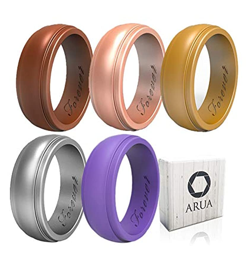 Arua Silicone Wedding Ring for Women 5-Pack   5 Glossy Wedding Bands   Gift Box Included   Comfortable Rubber Rings for Active Ladies