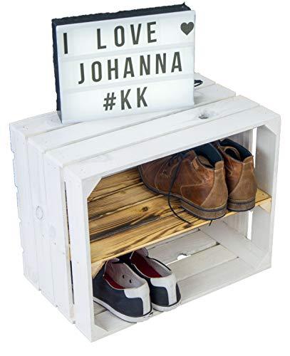 "NUEVA Blanco Sólido Caja de fruta ""JOHANNA"" con Flameado Tabla central / zwischenbrettern aprox 50x40x30cm Estante Para Libros/schuhregalkiste Del kistenregal Mueble calzado Cajón Manzana / VINO"