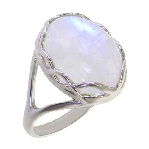 ARTIPOL Anillo con Piedra de luna Artesania europea estilo francés - Bisutería de plata rodinada 54-13 - tamaño 20