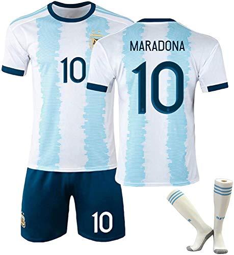 YTTde 1920 Maradona Jersey Set, Traje de Rey Retro conmemorativo n. ° 10 de Argentina para fútbol, Regalo, colección, con 1 par de Calcetines,XXL
