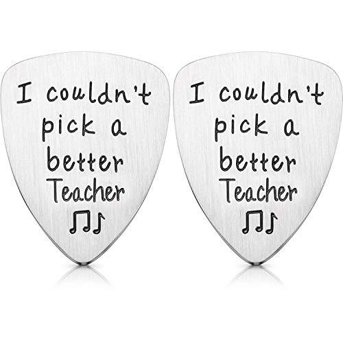 2 Juegos Regalo de Apreciación de Profesor Púa de Guitarra, Regalo de Púa de Guitarra de Acero de I Couldn