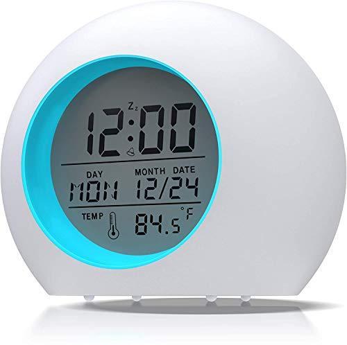Lypumso Despertador Digital Electrónico, Reloj Alarma con 7 Colores Luz de Noche, Pantalla LED con Hora Fecha Temperatura, Función Snooze, Regalo, Blanco